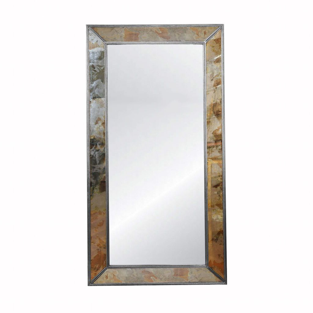 Dion Floor Mirror with Silver Leaf Edging