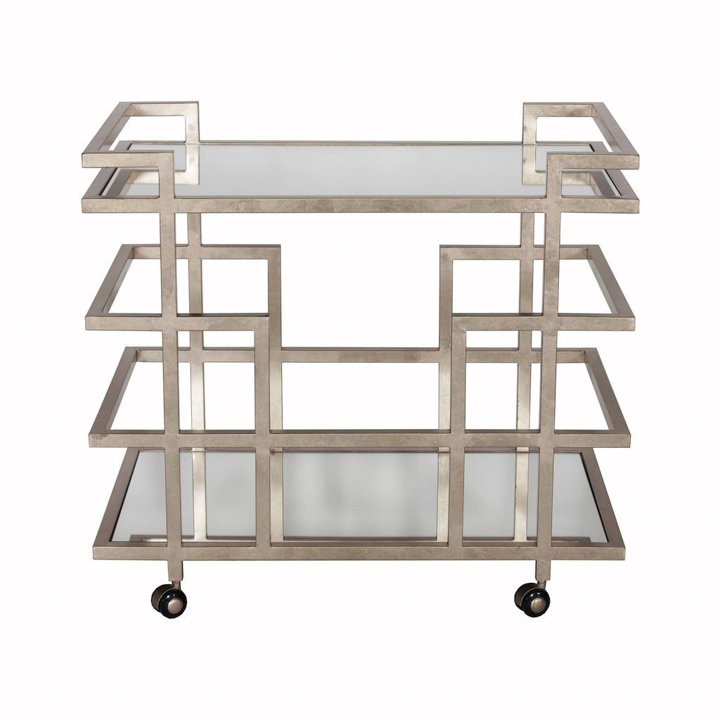 Fig Linens - Ireland Silver Bar Cart with Mirrored Shelves by Worlds Away