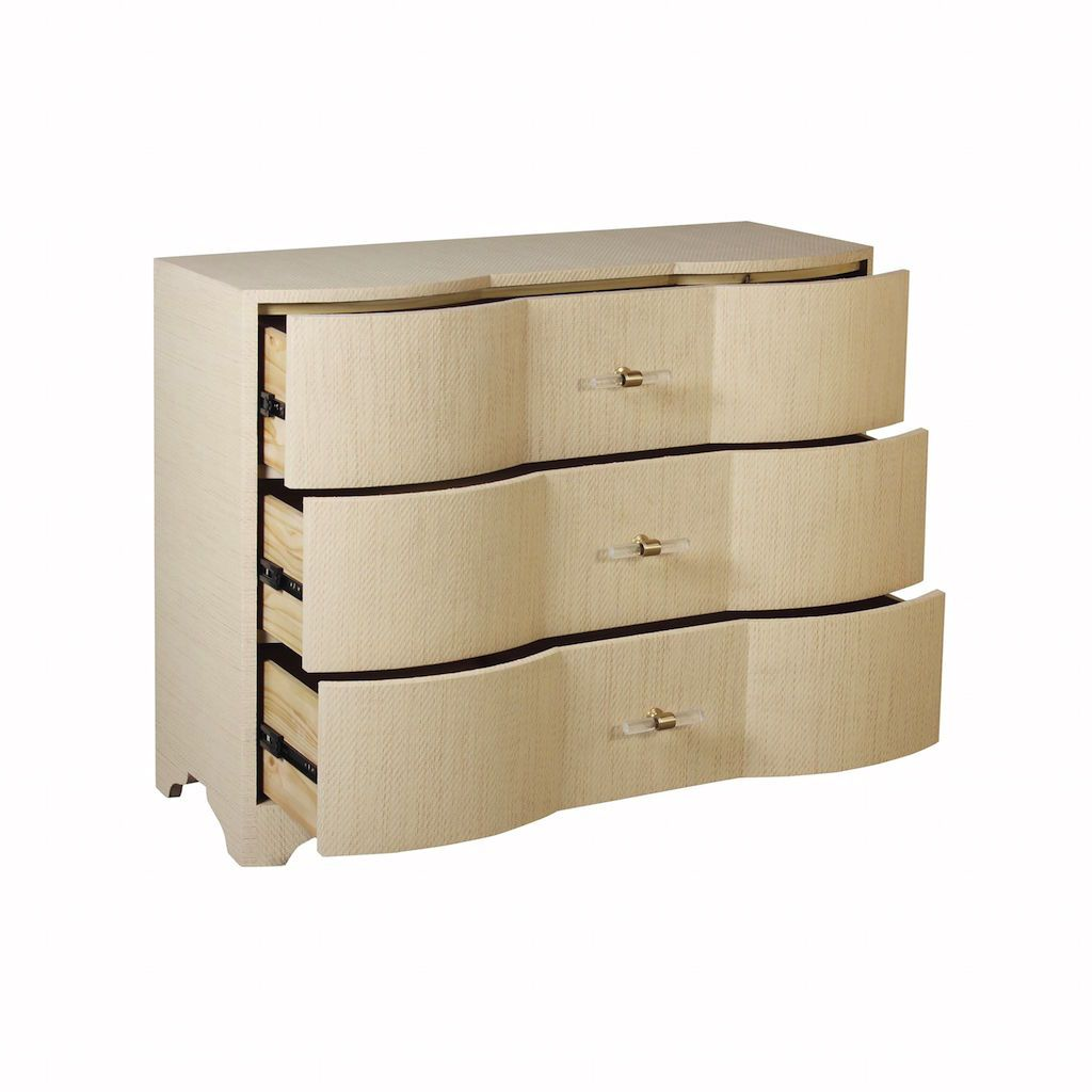 Fig Linens - Worlds Away Plymouth Natural Grasscloth Drawer Chest - Angle
