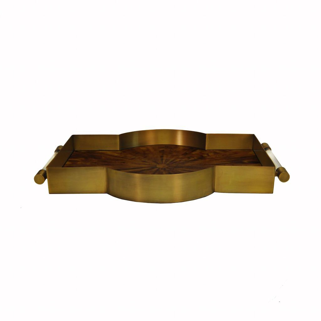Florence Antique Brass & Radial Horn Tray by Worlds Away | Fig Linens