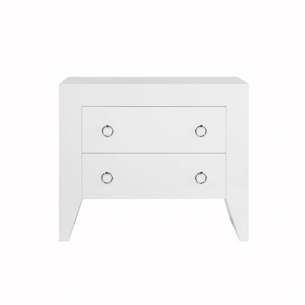 Worlds Away - Easton White 2-Drawer Chest with Nickel Hardware | Fig Linens
