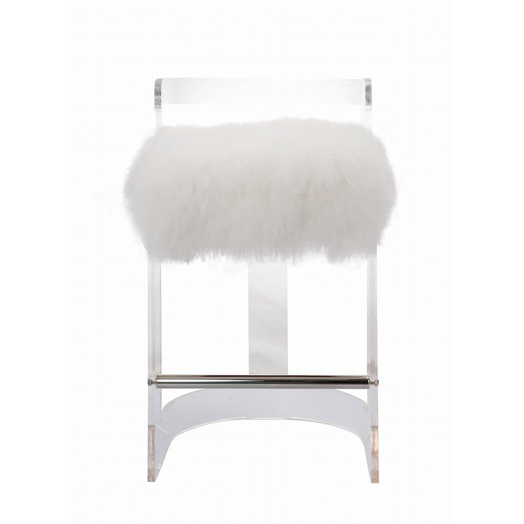 Worlds Away Malone Acrylic Counter Stool with Mongolian Fur Cushion | Fig Linens