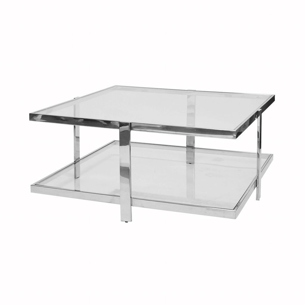 Maris Two Tier Nickel Coffee Table by Worlds Away | Fig Linens