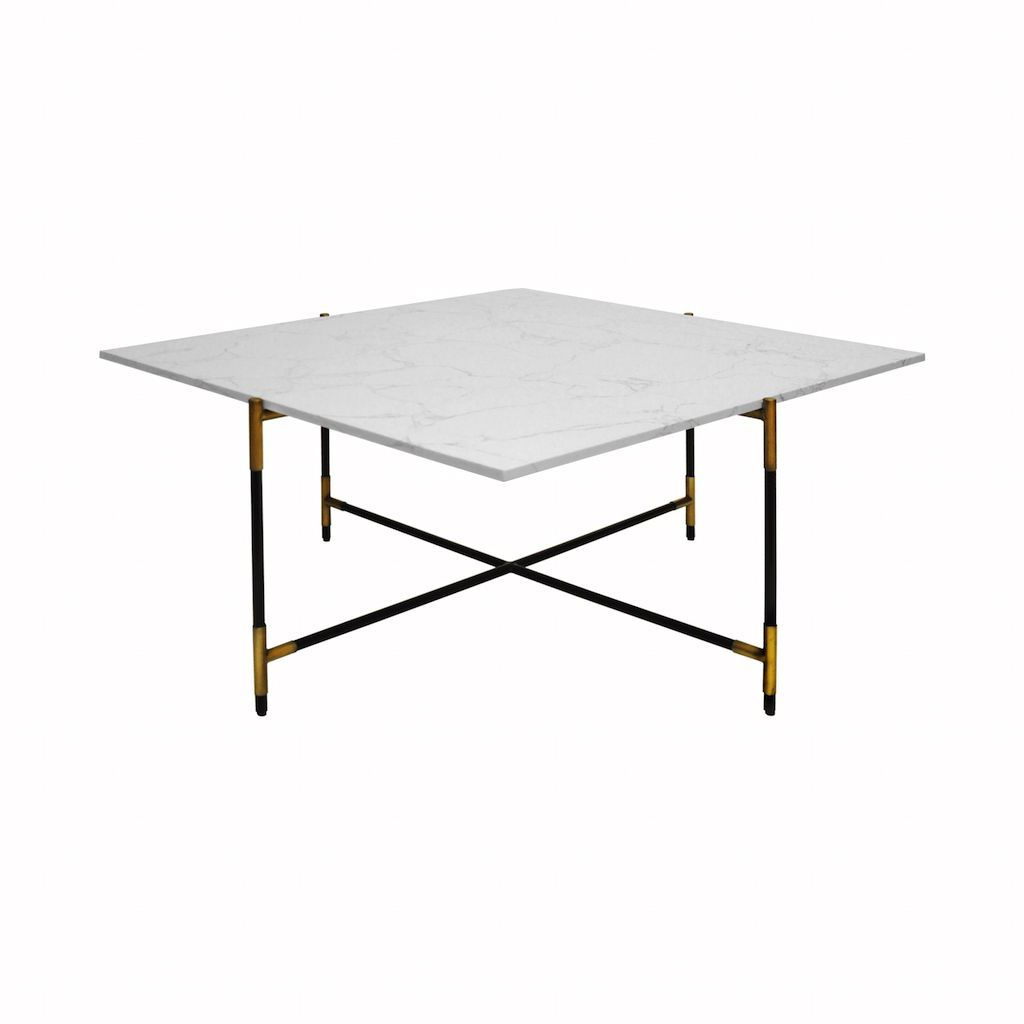 Fig Linens - Worlds Away - Zelda Marble and Black Coffee Table