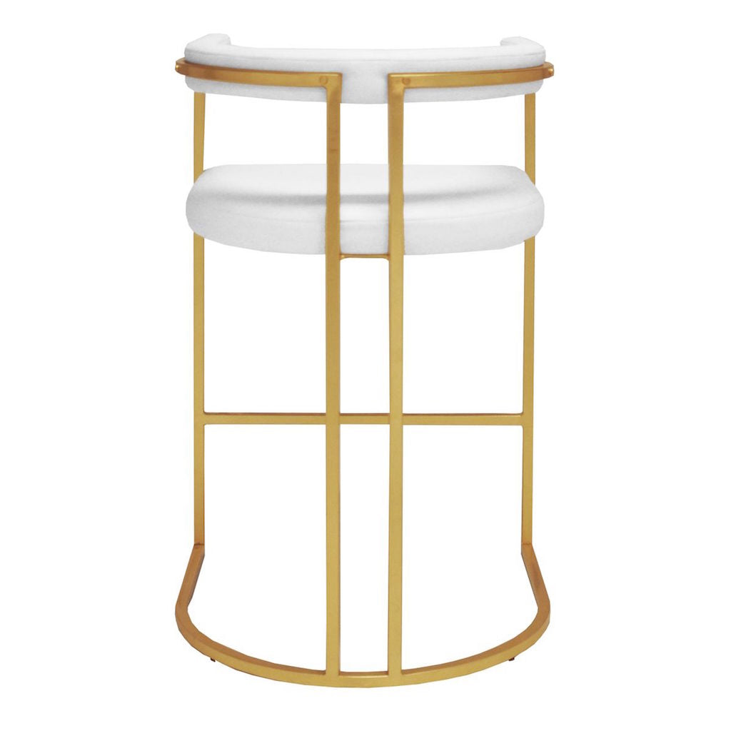Fig Linens - Donovan White Vinyl & Gold Leaf Bar Stool by Worlds Away - Back