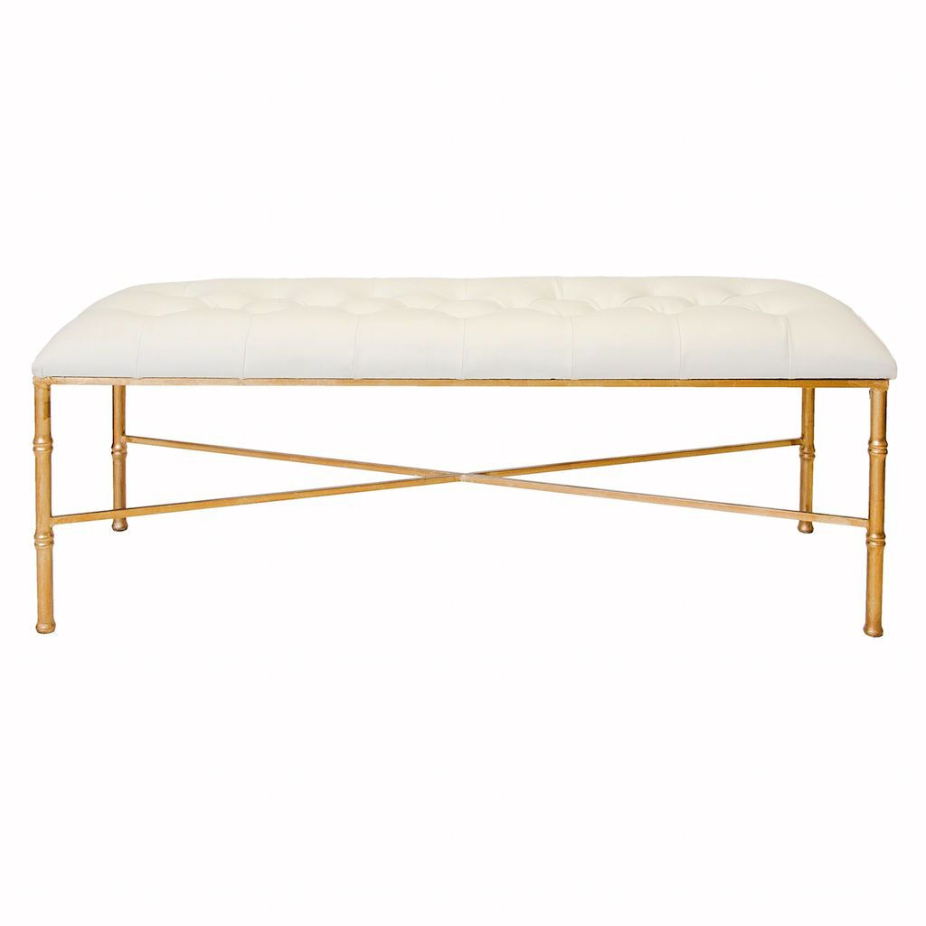 Stella Gold Bench with Tufted White Vinyl Seat | Fig Linens
