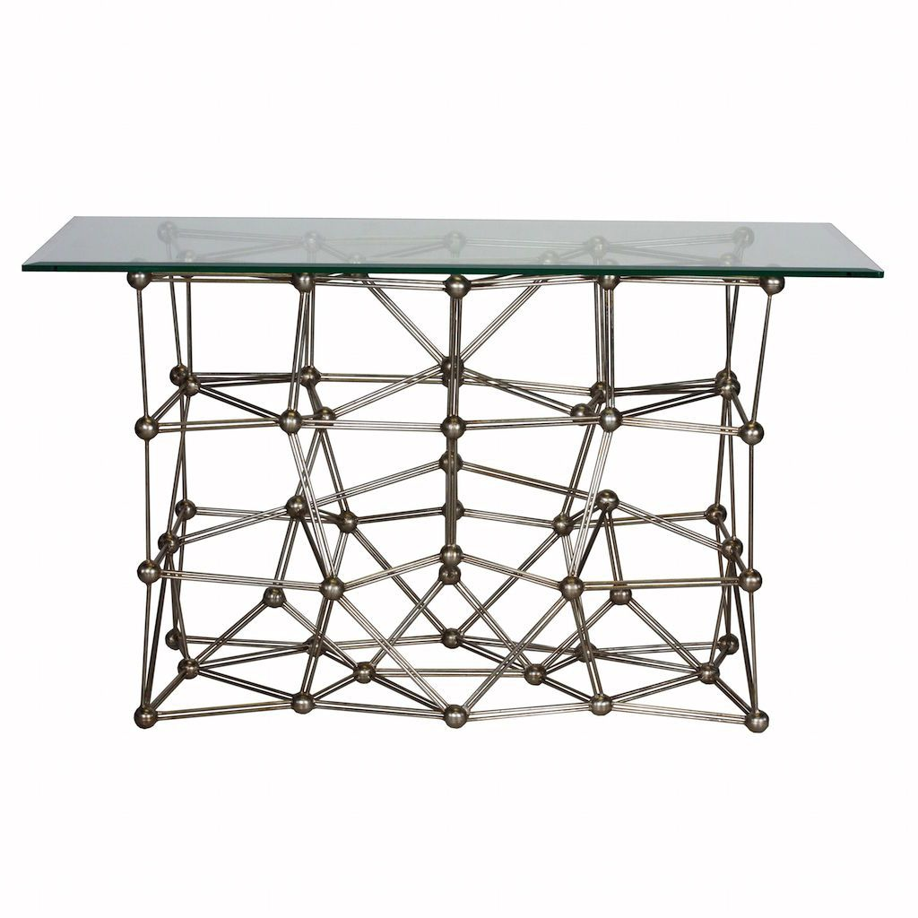 Worlds Away - Molecule Silver Console Table with Glass Top | Fig Linens