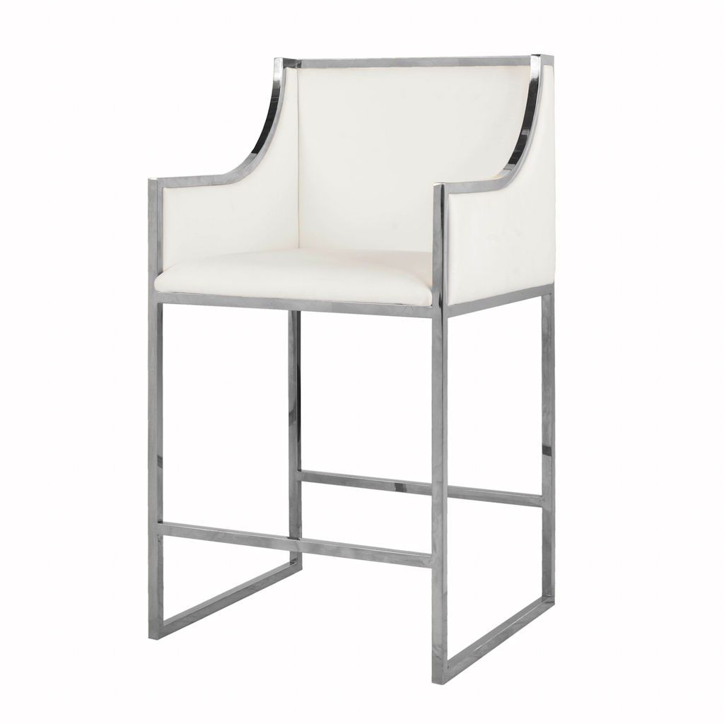Fig Linens - Hazel White Leather Counter Stool by Worlds Away - Side