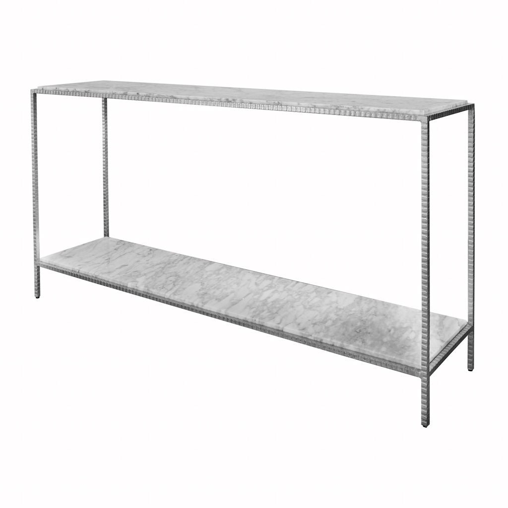Agnes Large Silver Console with White Marble Top