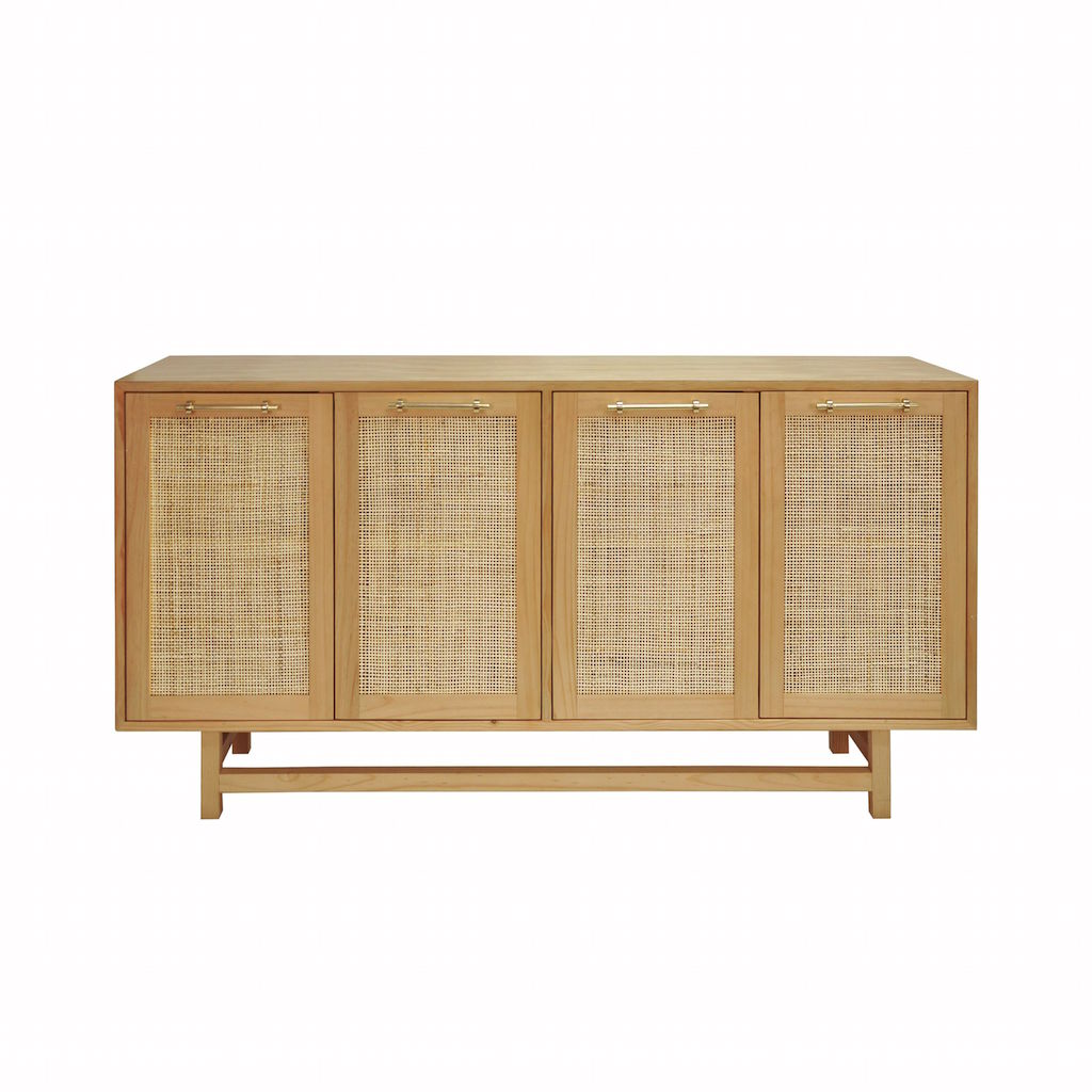 Worlds Away Macon Pine Cabinet with Cane Door Fronts | Fig Linens