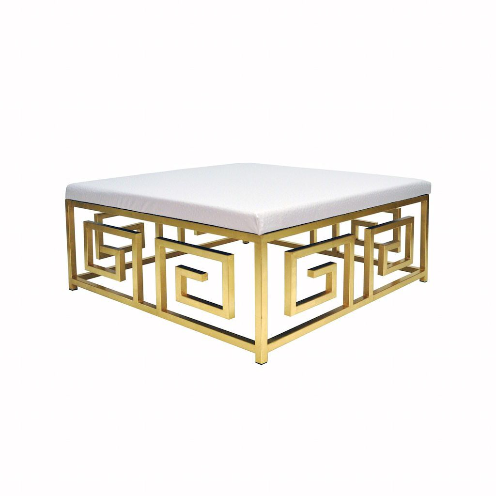 Worlds Away - Eileen Gold Leaf & White Ostrich Ottoman | Fig Linens and Home