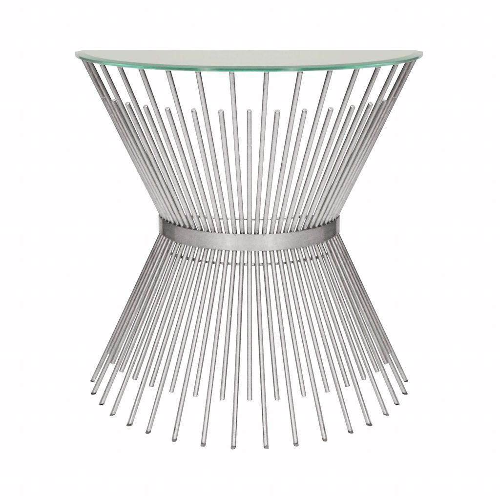 Worlds Away - Jasmine Silver Sunburst Console with Glass Top | Fig Linens
