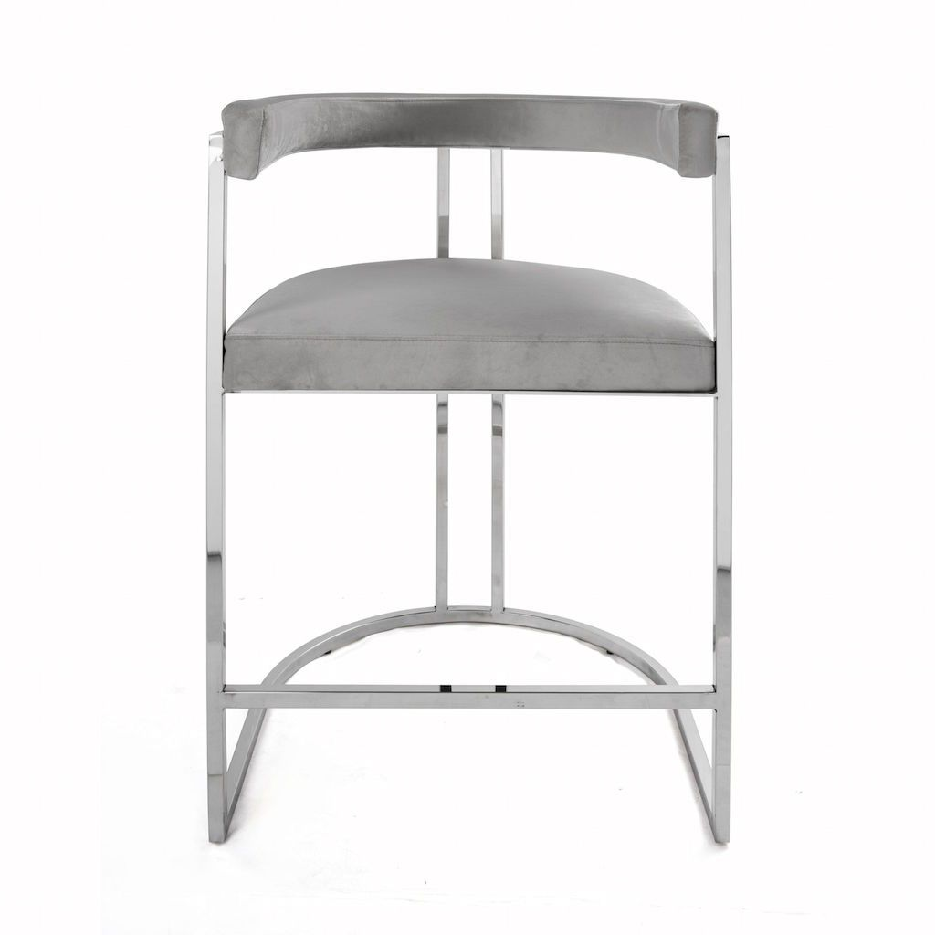 Worlds Away - Cromwell Grey Velvet & Nickel Counter Stool | Fig Linens