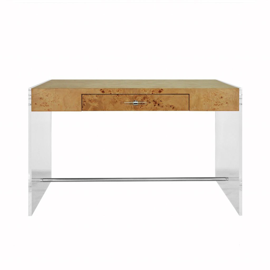 Worlds Away - Lennon Burl Wood Desk with Acrylic Side Panels | Fig Linens and Home