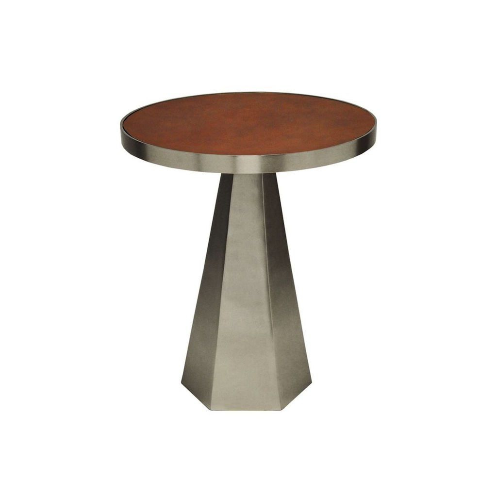 Worlds Away - Woodrow Antique Nickel & Faux Leather Side Table | Fig Linens