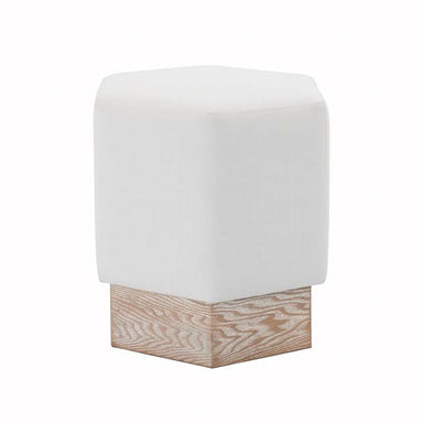 Fig Linens - Asher White Linens and Cerused Oak Hexagon Stool by Worlds Away