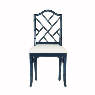 Fig Linens - Fairfield Navy Lacquer Dining Chair by Worlds Away - Front
