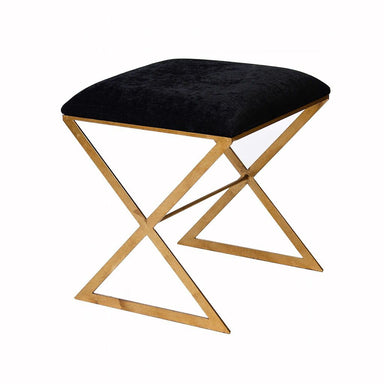 X Bench in Gold with Black Velvet Fabric | Fig Linens and Home