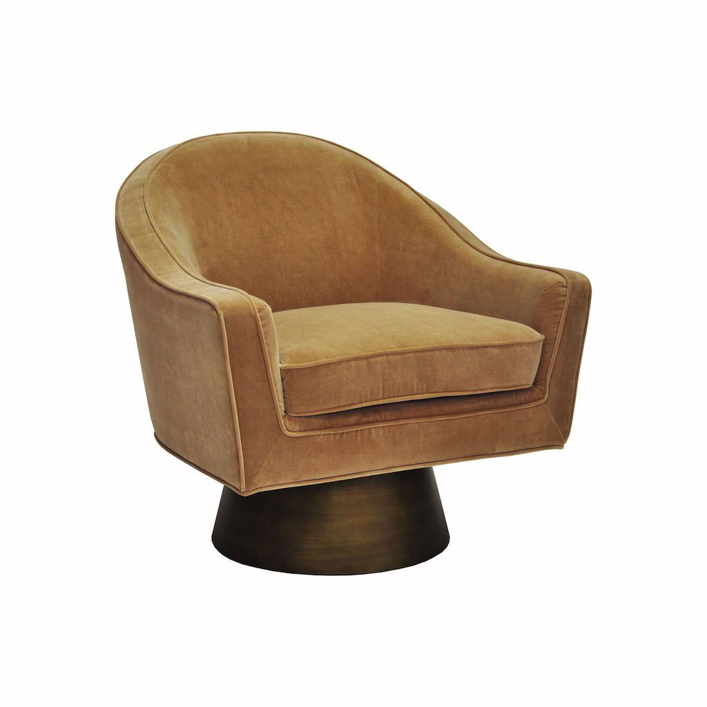 Worlds Away - Dominic Camel Velvet & Bronze Swivel Chair | Fig Linens and Home