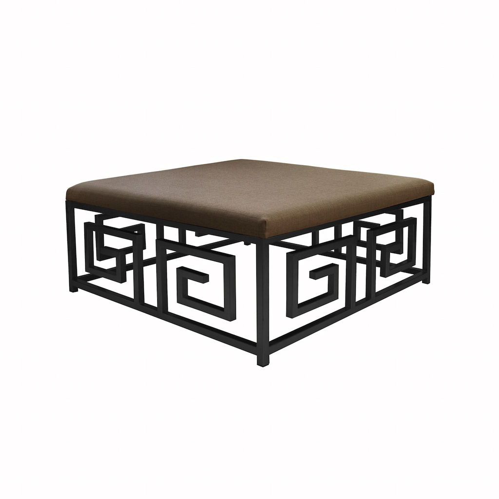Fig Linens - Worlds Away - Eileen Square Ottoman with Natural Linen Cushion - Angle
