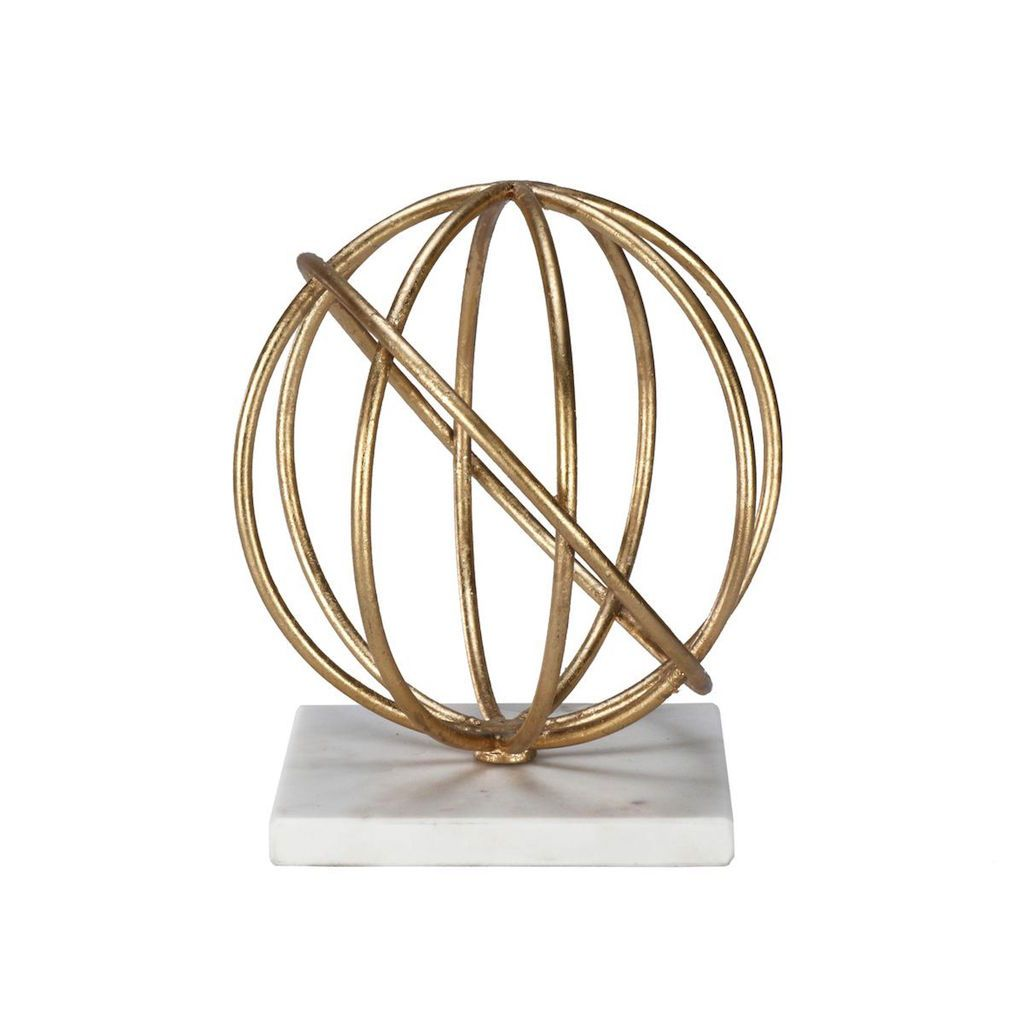 Quincy Gold Sphere Sculpture by Worlds Away