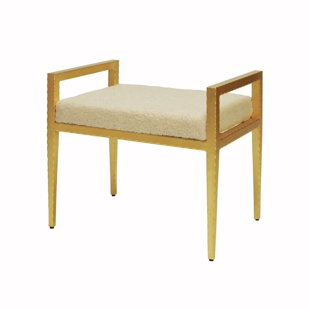 Emily Gold Stool with Sherpa Cushion by Worlds Away | Fig Linens
