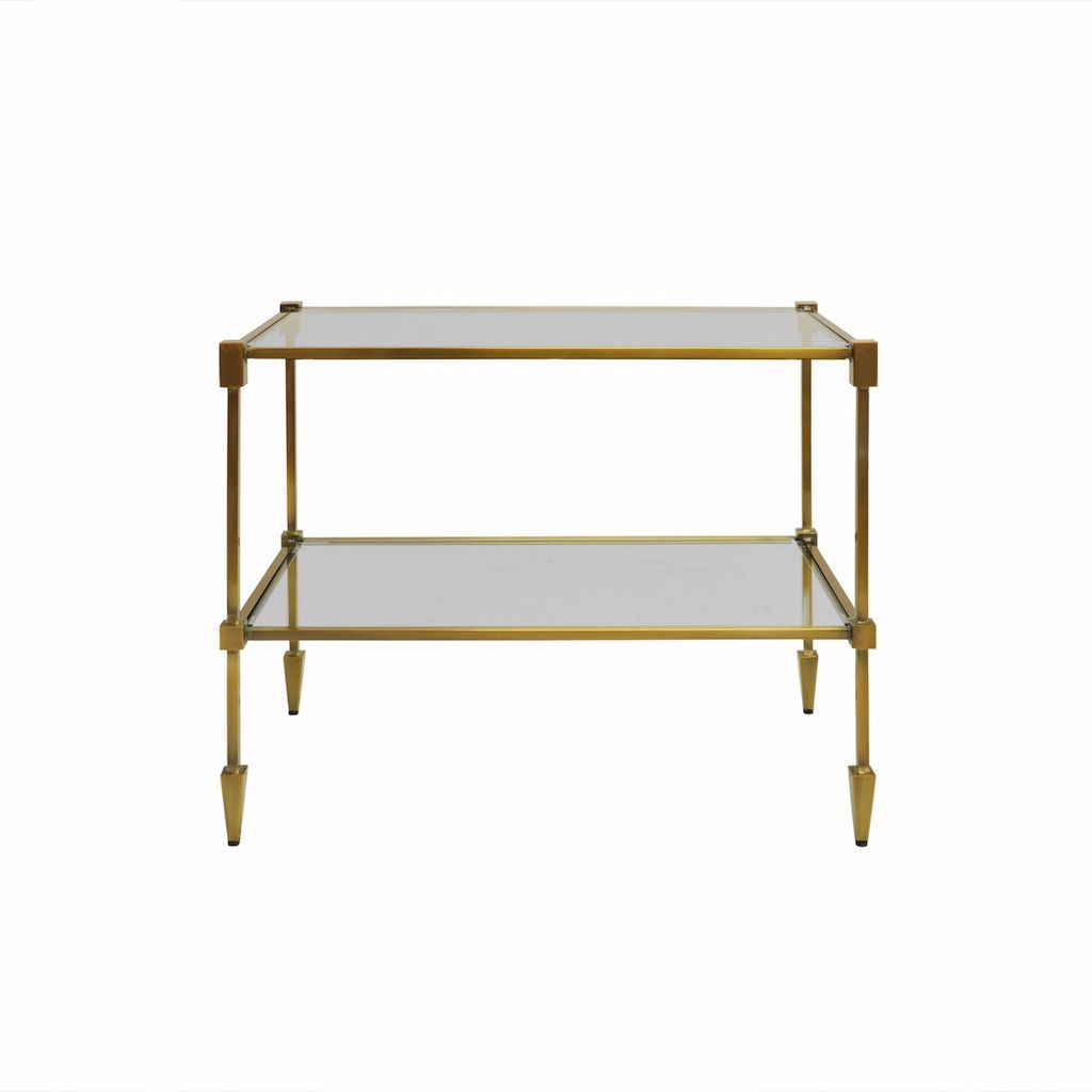 Worlds Away Lasso 2-Tier Antique Brass Table | Fig Linens