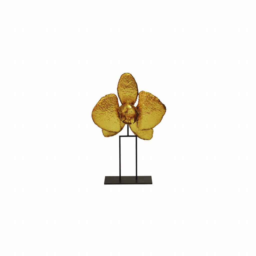 """12"""" Gold Leaf Orchid Sculpture by Worlds Away"""
