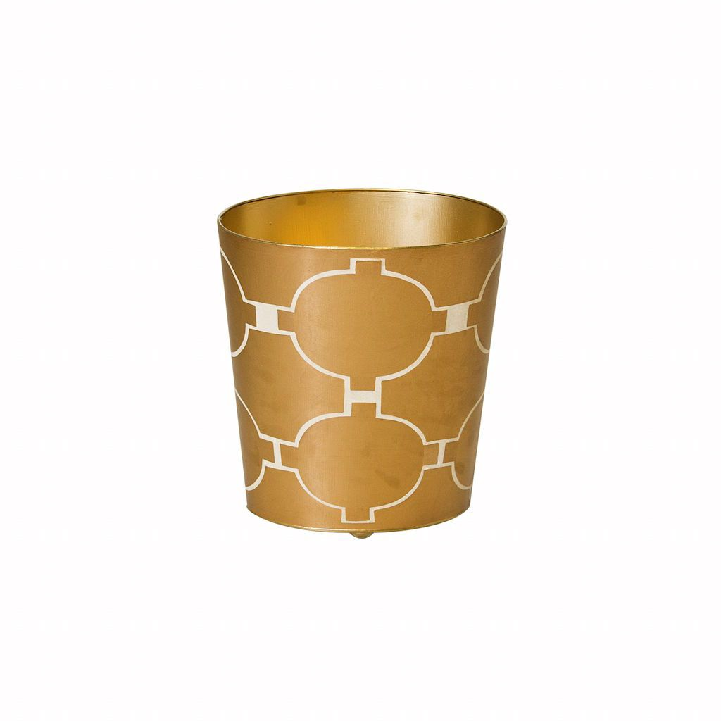 Gold & Cream Oval Wastebasket by Worlds Away | Fig Linens