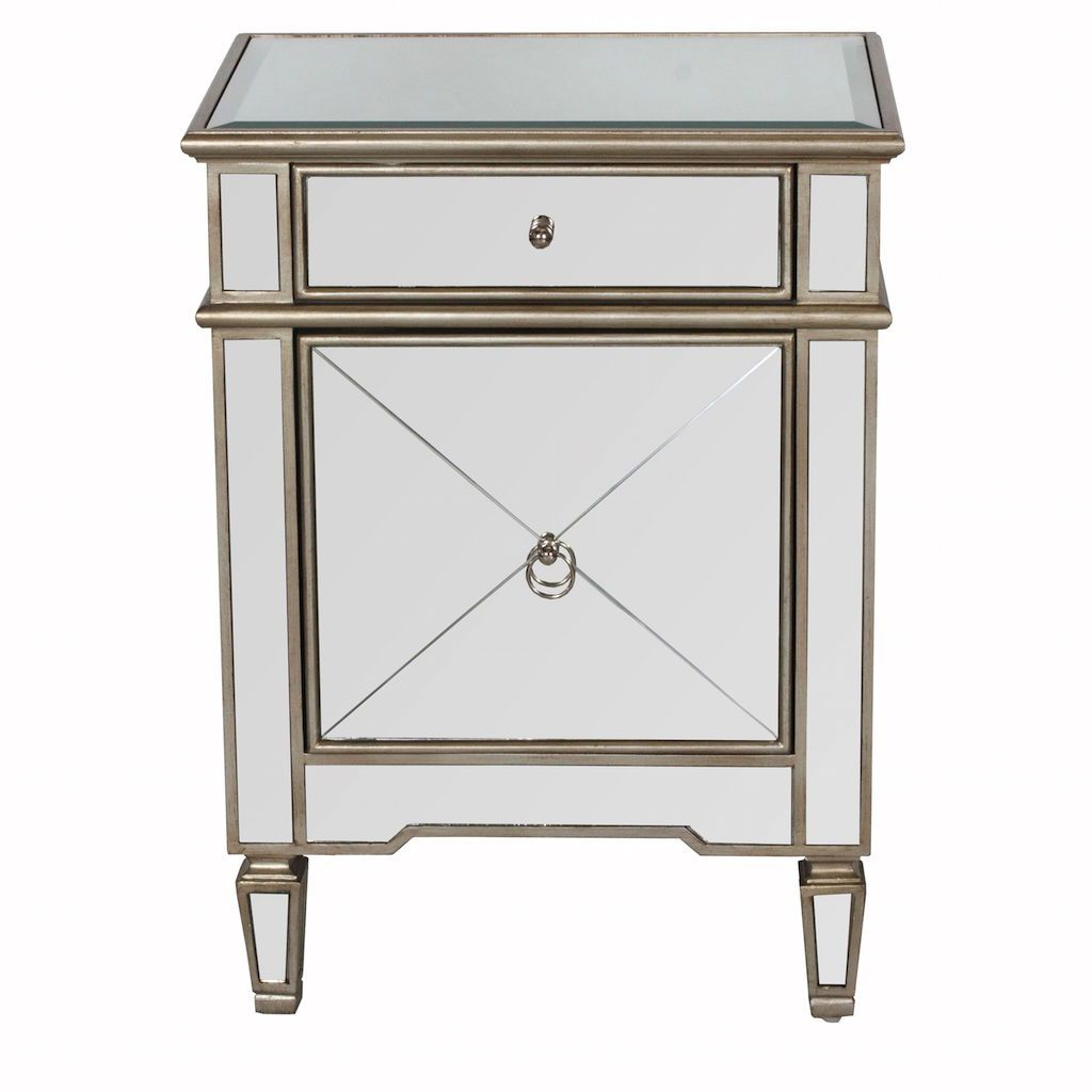Worlds Away - Claudette Mirrored Night Stand with Silver Edges | Fig Linens