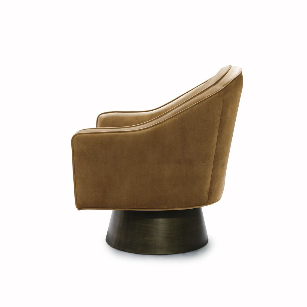 Fig Linens - Worlds Away - Dominic Camel Velvet & Bronze Swivel Chair - Side