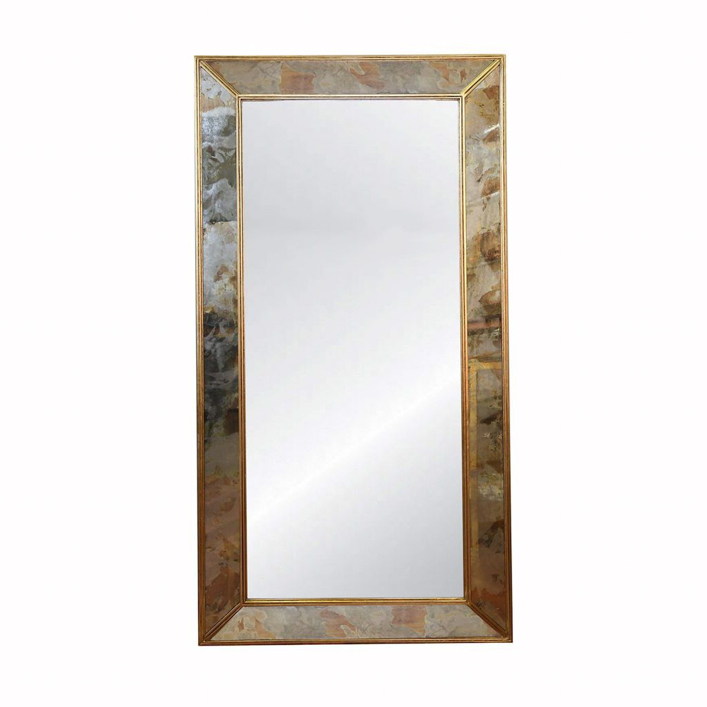 Dion Floor Mirror with Gold Leaf Edging