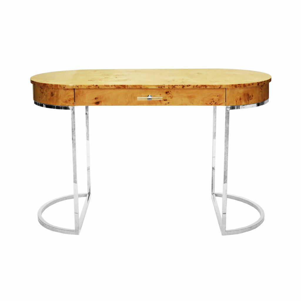 Corbett Oval Burl Wood & Nickel Desk by Worlds Away | Fig Linens