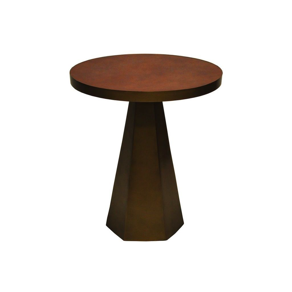 Worlds Away - Woodrow Antique Brass & Faux Brown Leather Side Table | Fig Linens