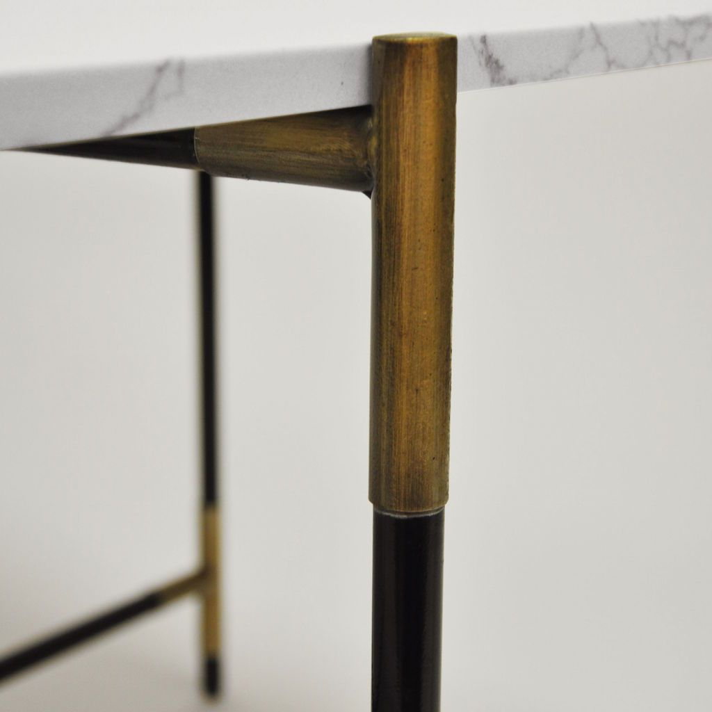 Fig Linens - Worlds Away - Zelda Marble and Black Coffee Table - Antique Brass Details