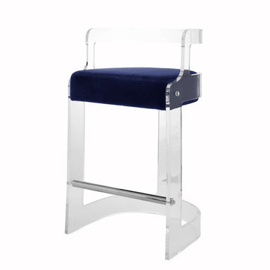 Fig Linens - Malone Acrylic Counter Stool with Navy Velvet Cushion by Worlds Away