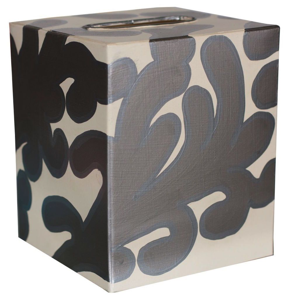Silver & Cream Tissue Box Cover by Worlds Away | Fig Linens