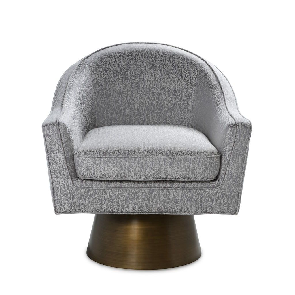 Fig Linens - Worlds Away - Dominic Smoke Grey & Bronze Swivel Chair - Front
