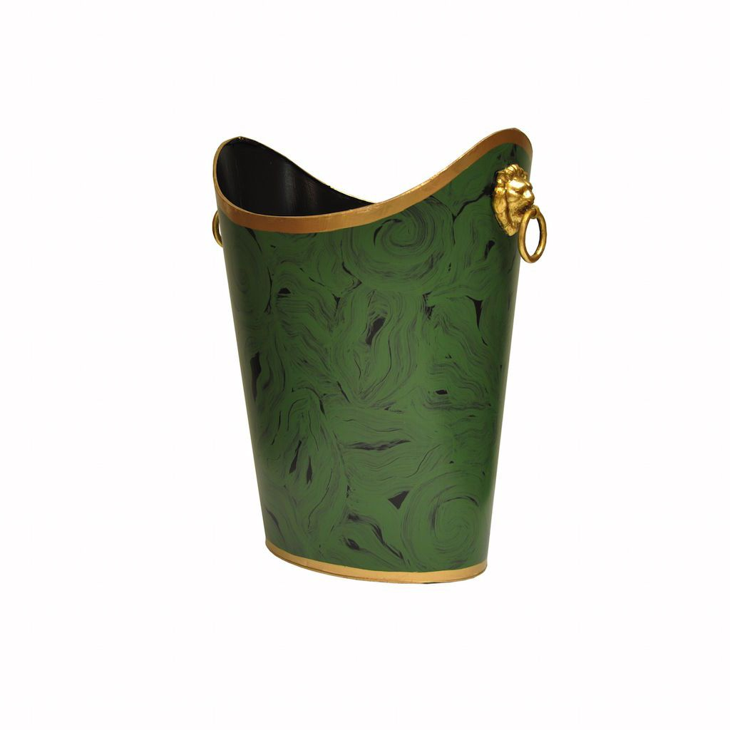 Oval Malachite Wastebasket with Lion Handles | Fig Linens
