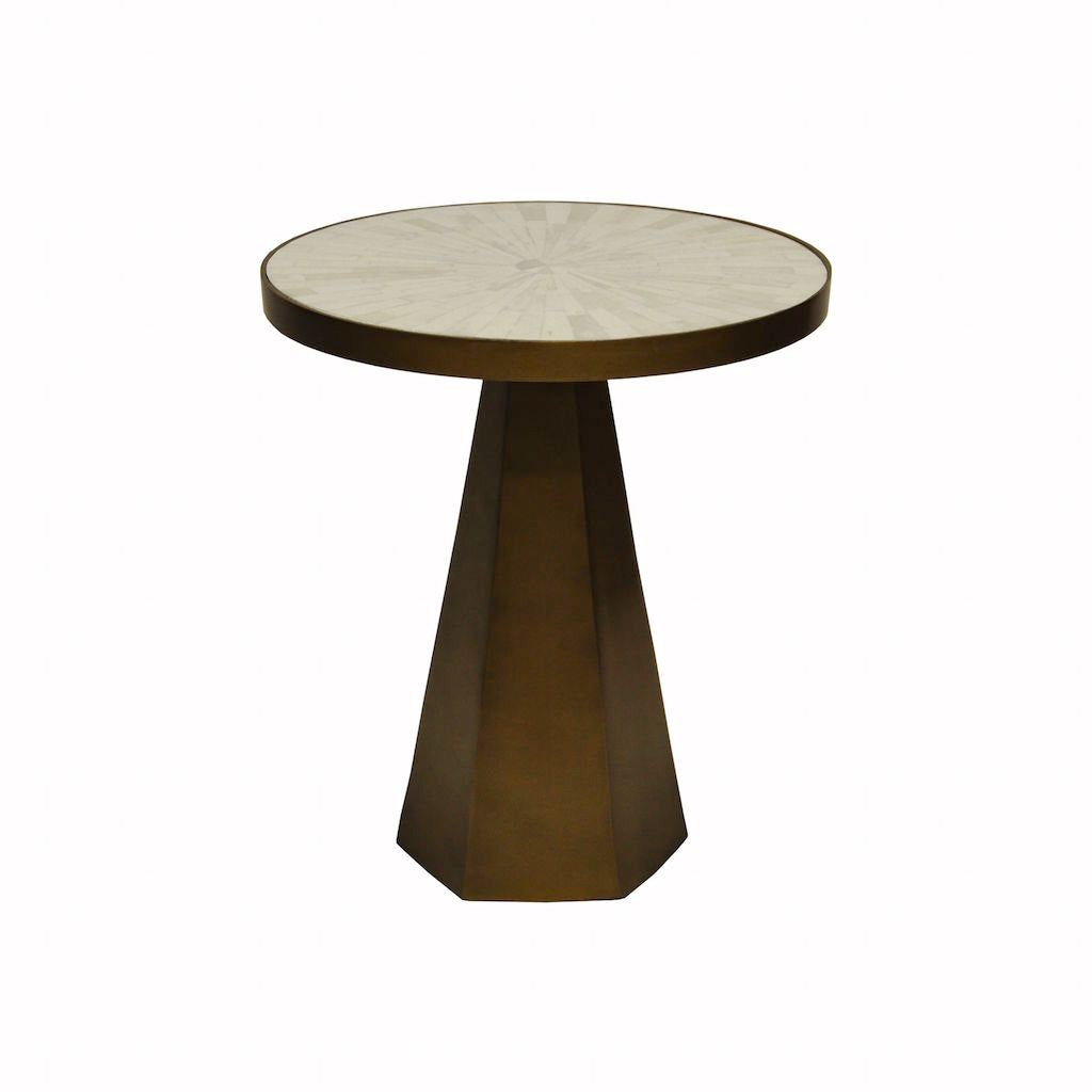 Worlds Away - Woodrow Antique Brass & Radial Bone Side Table | Fig Linens