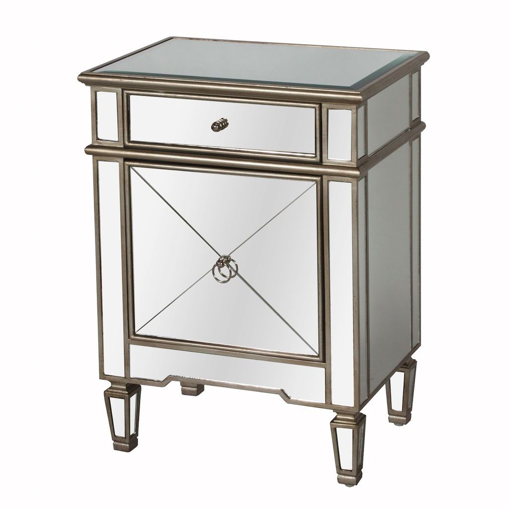 Fig Linens  - Worlds Away - Claudette Mirrored Side Table with Silver Edges