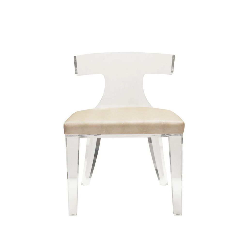 Duke Acrylic and Beige Chair by Worlds Away