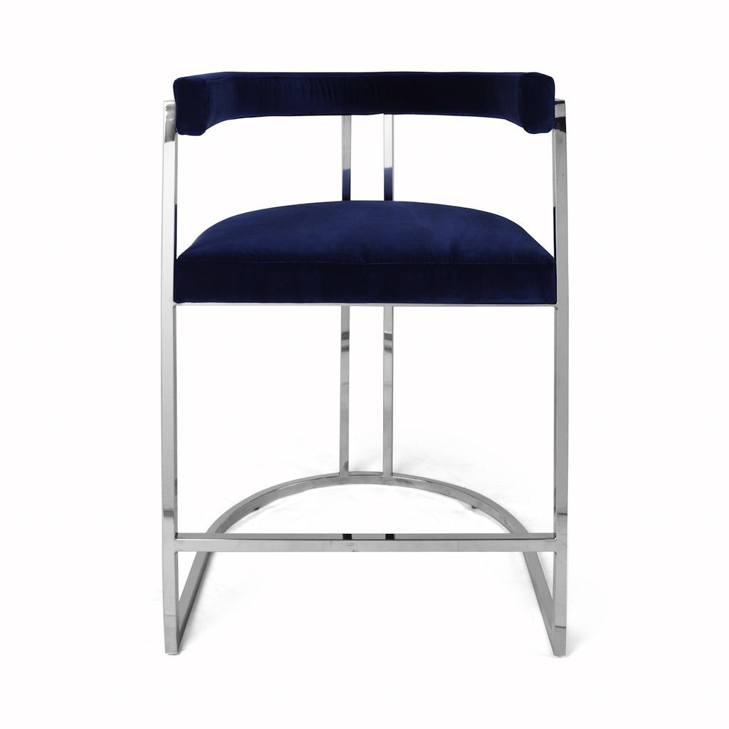 Worlds Away Cromwell Navy Velvet & Nickel Counter Stool | Fig Linens