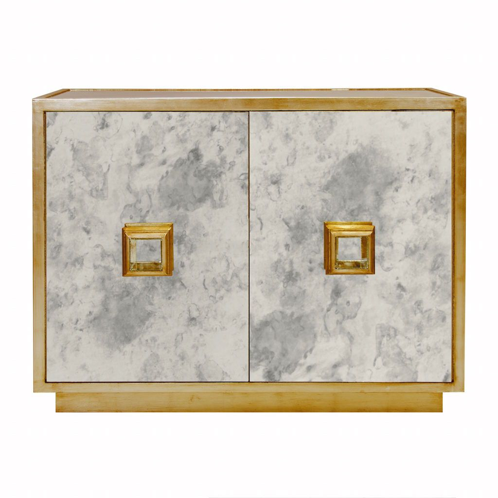 Worlds Away Winslow Antique Mirror & Gold Leaf Cabinet | Fig Linens