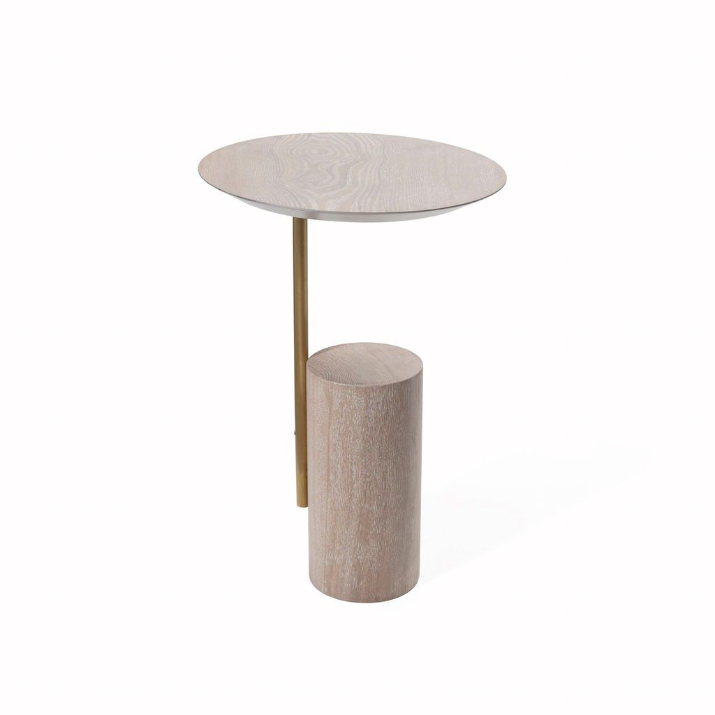 Cameo Cerused Oak Round Cigar Table by Worlds Away