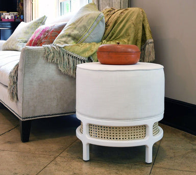 Fig Linens - Lyanna White Stool with Cane Base by Worlds Away - Lifestyle
