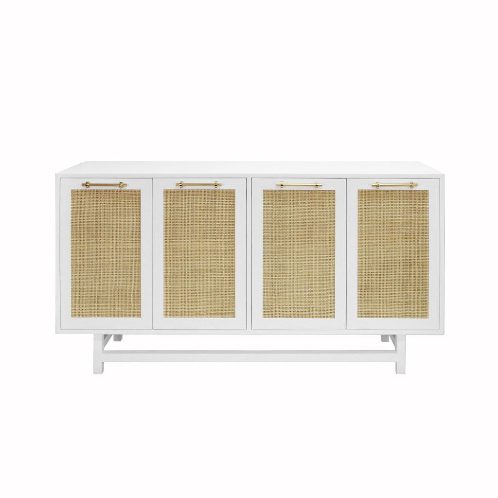Worlds Away - Macon White Cabinet with Cane Door Fronts | Fig Linens
