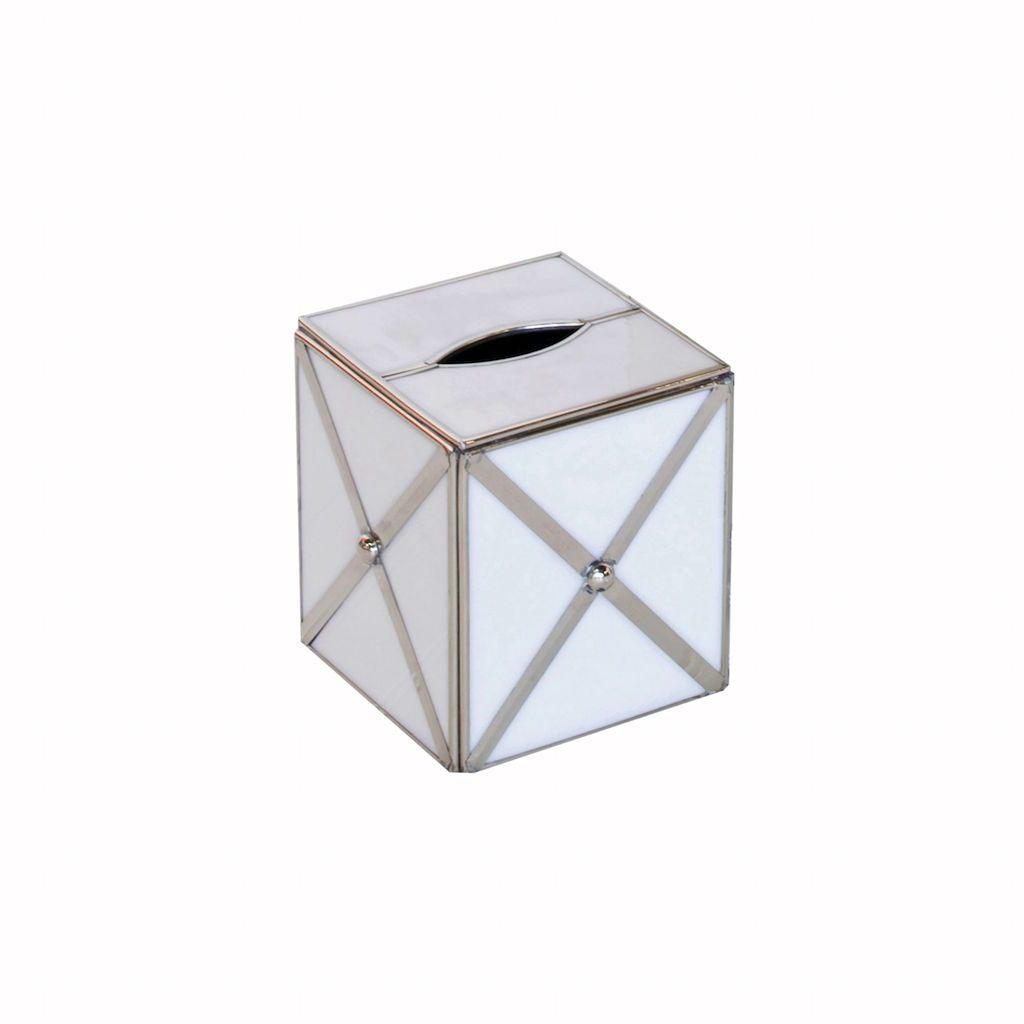 Worlds Away - Worlds Away White Glass & Silver Tissue Box Cover | Fig Linens