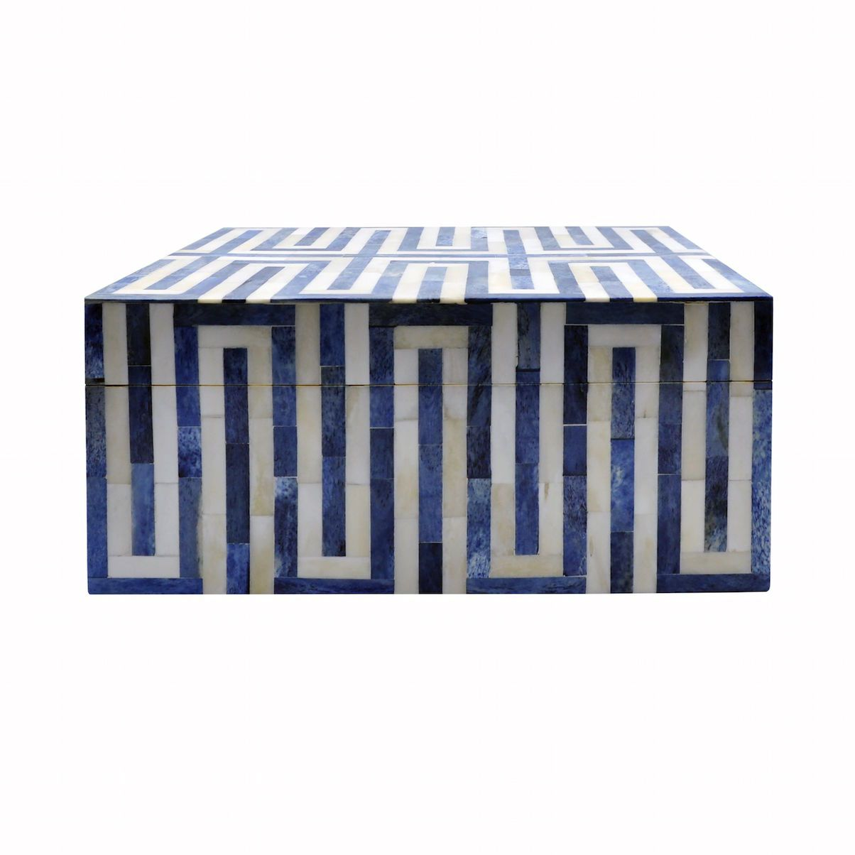 Fig Linens - Worlds Away - Mellie Large Blue & White Decorative Box - Front