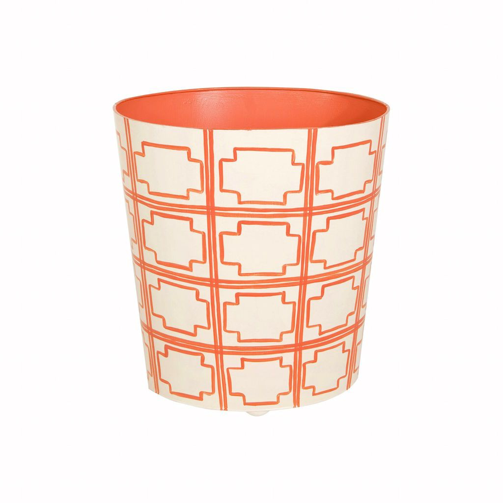 Worlds Away - Oval Wastebasket with Cream & Orange Squares | Fig Linens